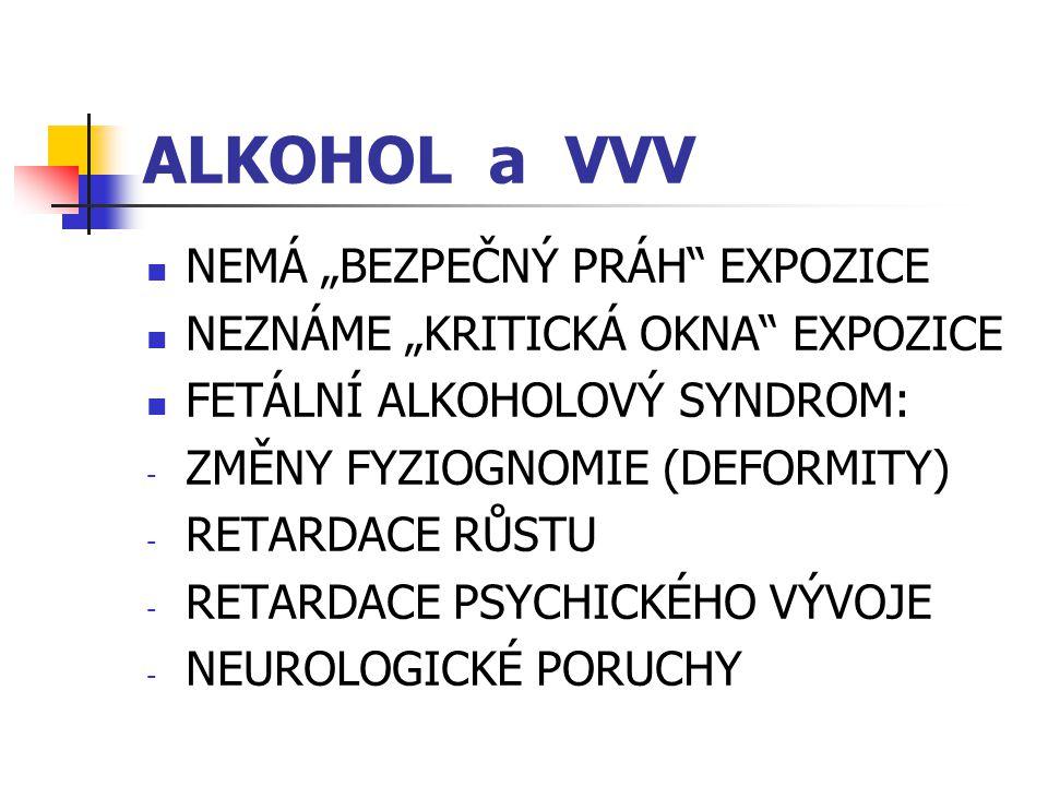 """ALKOHOL a VVV NEMÁ """"BEZPEČNÝ PRÁH"""" EXPOZICE NEZNÁME """"KRITICKÁ OKNA"""" EXPOZICE FETÁLNÍ ALKOHOLOVÝ SYNDROM: - ZMĚNY FYZIOGNOMIE (DEFORMITY) - RETARDACE R"""