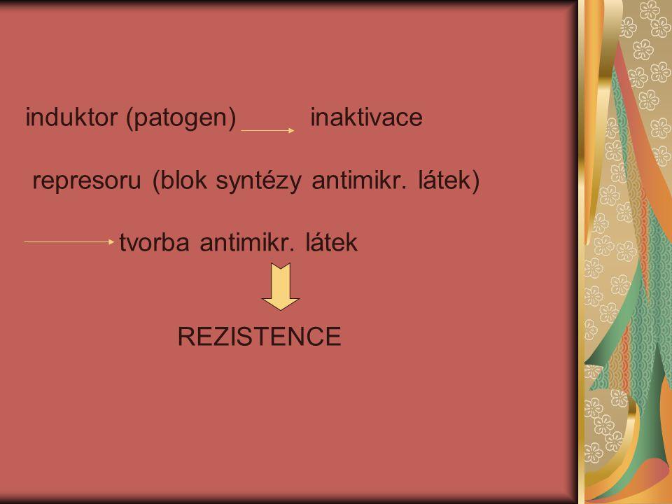 induktor (patogen) inaktivace represoru (blok syntézy antimikr. látek) tvorba antimikr. látek REZISTENCE