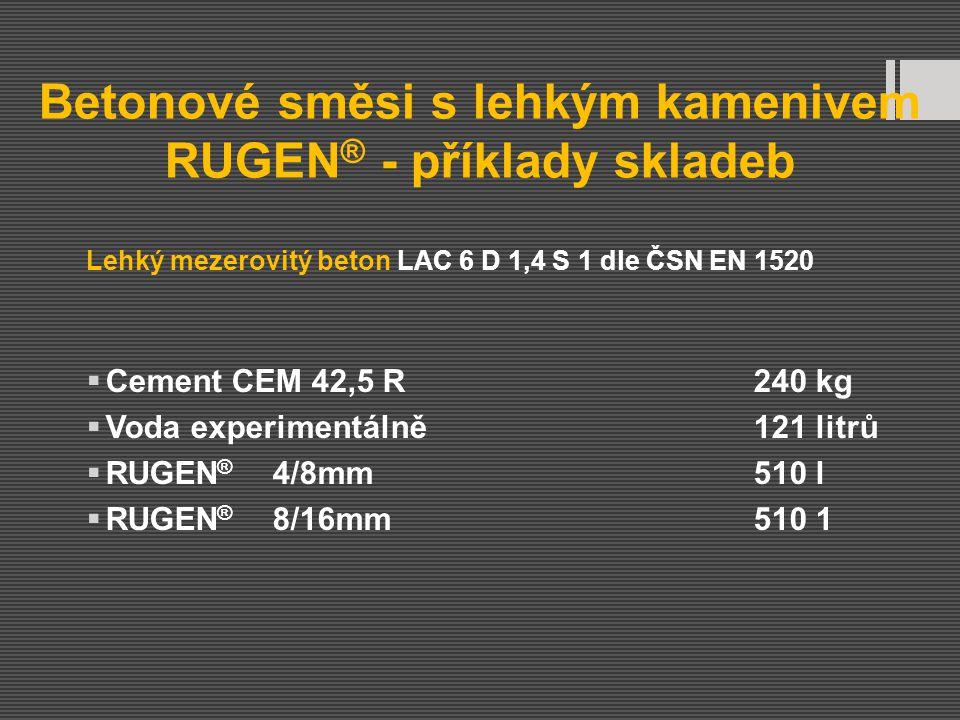 Betonové směsi s lehkým kamenivem RUGEN ® - příklady skladeb Lehký mezerovitý beton LAC 6 D 1,4 S 1 dle ČSN EN 1520  Cement CEM 42,5 R240 kg  Voda e