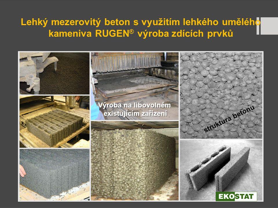 Lehký mezerovitý beton s využitím lehkého umělého kameniva RUGEN ® výroba zdících prvků struktura betonu Výroba na libovolném existujícím zařízení