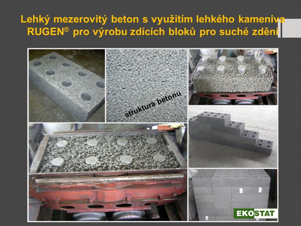 Lehký mezerovitý beton s využitím lehkého kameniva RUGEN ® pro výrobu zdících bloků pro suché zdění struktura betonu