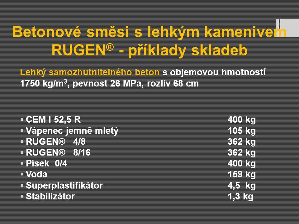 Betonové směsi s lehkým kamenivem RUGEN ® - příklady skladeb Lehký samozhutnitelného beton s objemovou hmotností 1750 kg/m 3, pevnost 26 MPa, rozliv 6