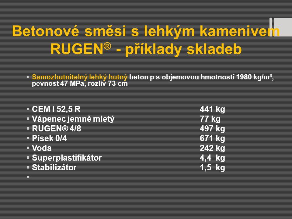 Betonové směsi s lehkým kamenivem RUGEN ® - příklady skladeb  Samozhutnitelný lehký hutný beton p s objemovou hmotností 1980 kg/m 3, pevnost 47 MPa,