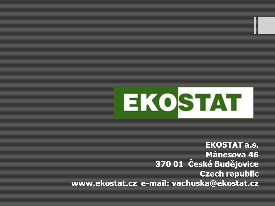 . EKOSTAT a.s. Mánesova 46 370 01 České Budějovice Czech republic www.ekostat.cz e-mail: vachuska@ekostat.cz