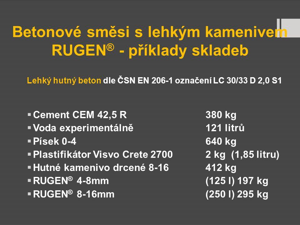 Betonové směsi s lehkým kamenivem RUGEN ® - příklady skladeb Lehký hutný beton dle ČSN EN 206-1 označení LC 30/33 D 2,0 S1  Cement CEM 42,5 R380 kg 
