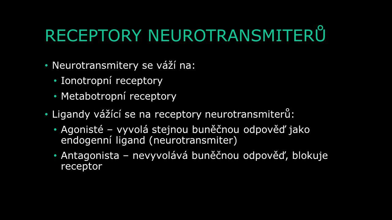 CHARAKTERISTIKA NEUROTRANSMITERŮ 4) Postsynaptická membrána musí obsahovat receptory, na které se může neurotransmiter navázat a posléze vyvolat změny