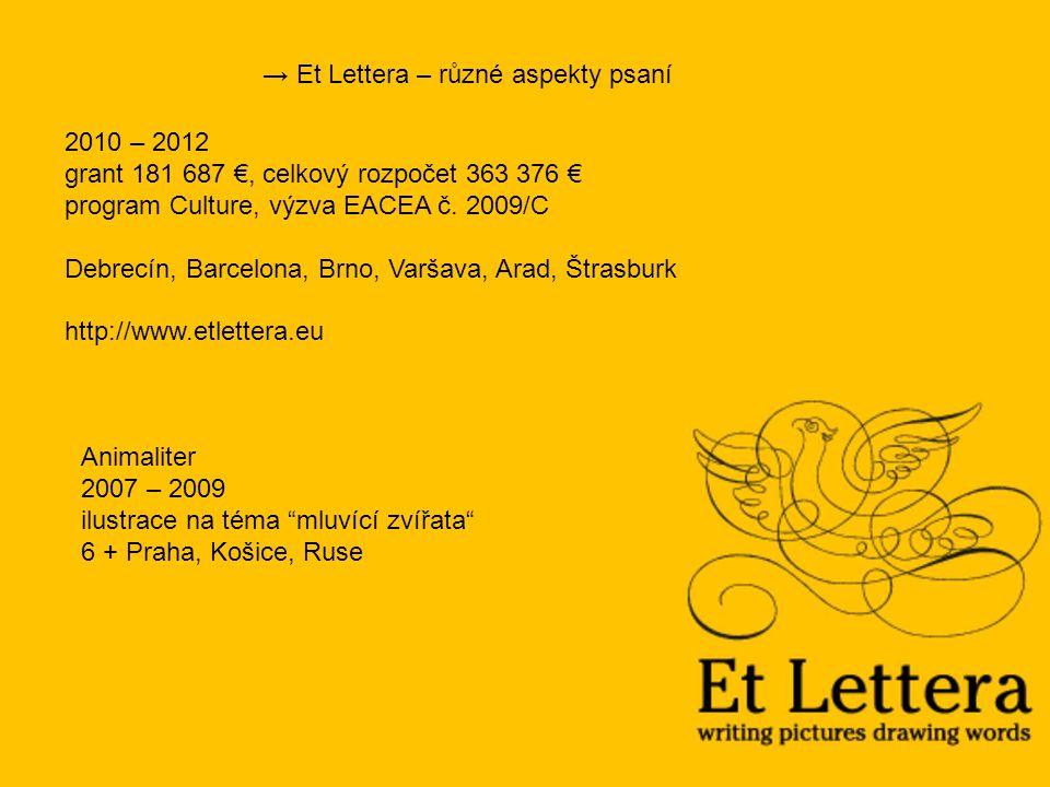 2010 – 2012 grant 181 687 €, celkový rozpočet 363 376 € program Culture, výzva EACEA č.