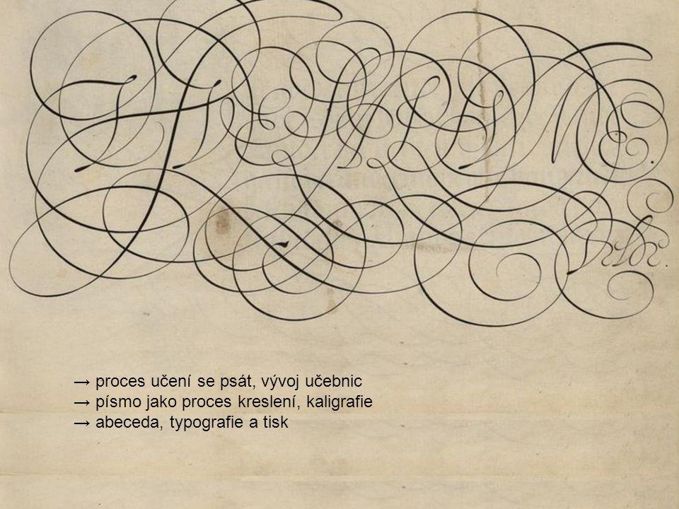 → proces učení se psát, vývoj učebnic → písmo jako proces kreslení, kaligrafie → abeceda, typografie a tisk