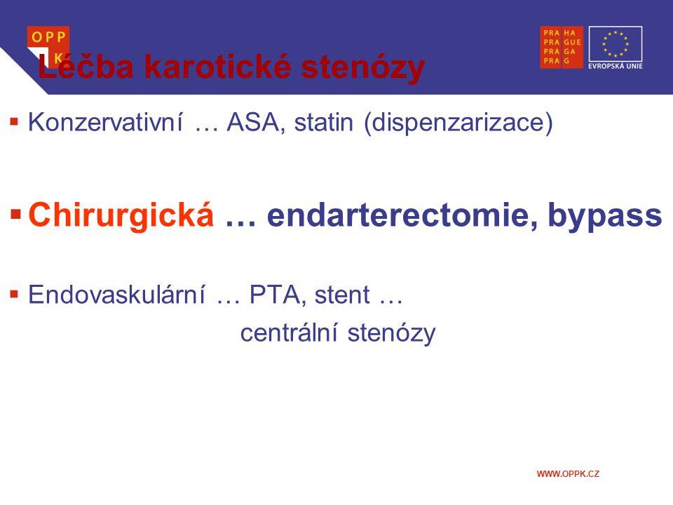 WWW.OPPK.CZ Léčba karotické stenózy  Konzervativní … ASA, statin (dispenzarizace)  Chirurgická … endarterectomie, bypass  Endovaskulární … PTA, ste