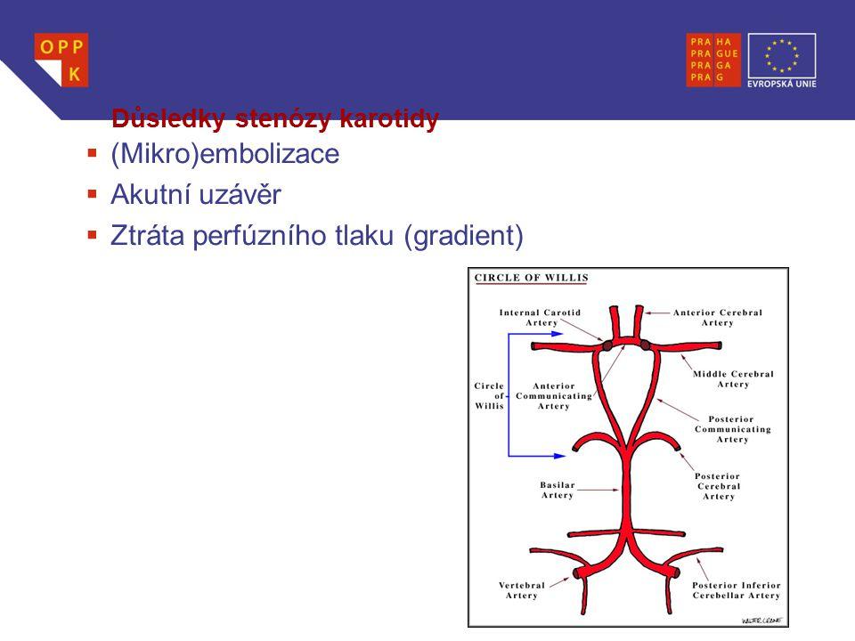 WWW.OPPK.CZ Důsledky stenózy karotidy  (Mikro)embolizace  Akutní uzávěr  Ztráta perfúzního tlaku (gradient)