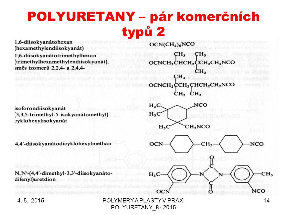 POLYURETANY – pár komerčních typů 2 4. 5. 2015POLYMERY A PLASTY V PRAXI POLYURETANY_8 - 2015 14