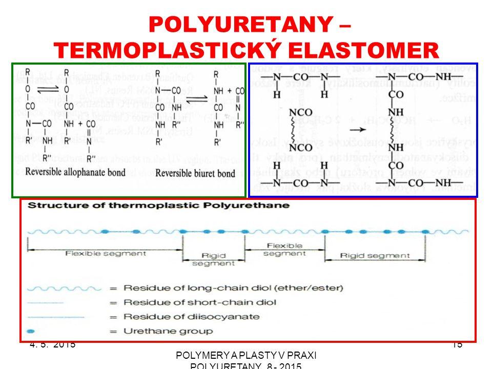 POLYURETANY – TERMOPLASTICKÝ ELASTOMER 4. 5. 2015 POLYMERY A PLASTY V PRAXI POLYURETANY_8 - 2015 15