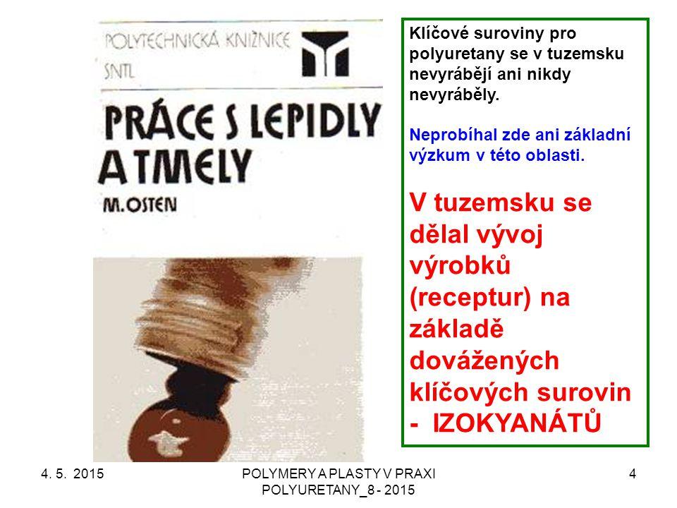 4. 5. 2015POLYMERY A PLASTY V PRAXI POLYURETANY_8 - 2015 4 Klíčové suroviny pro polyuretany se v tuzemsku nevyrábějí ani nikdy nevyráběly. Neprobíhal