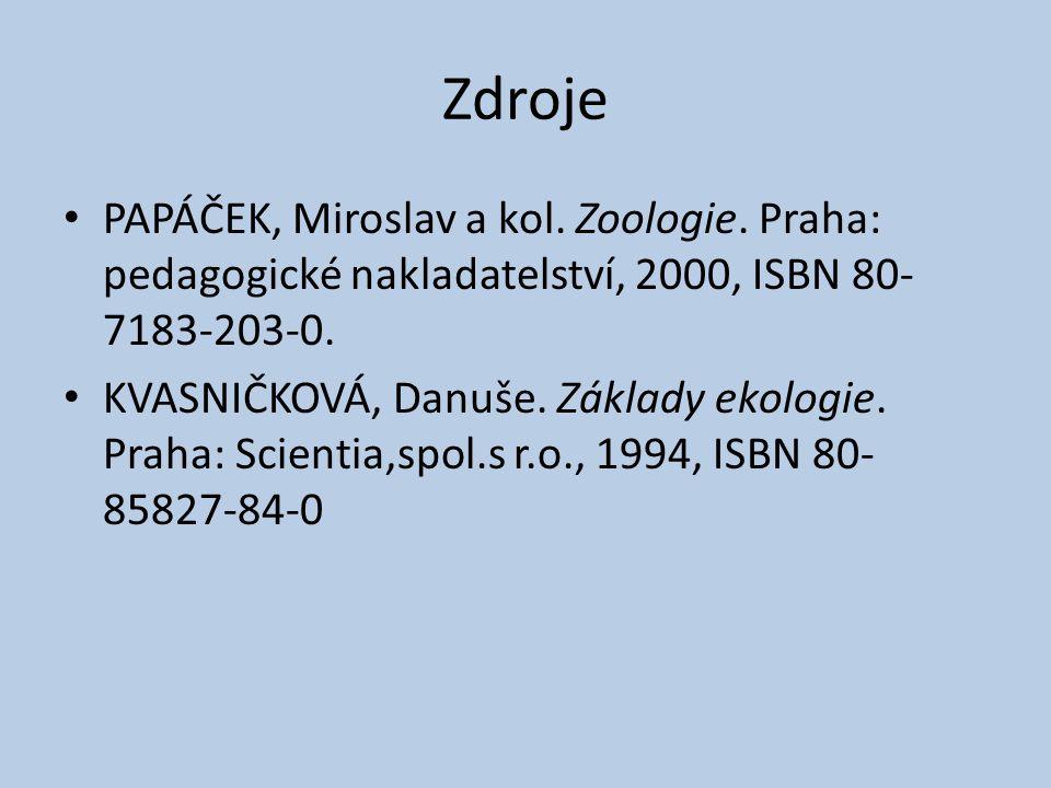 Zdroje PAPÁČEK, Miroslav a kol. Zoologie. Praha: pedagogické nakladatelství, 2000, ISBN 80- 7183-203-0. KVASNIČKOVÁ, Danuše. Základy ekologie. Praha: