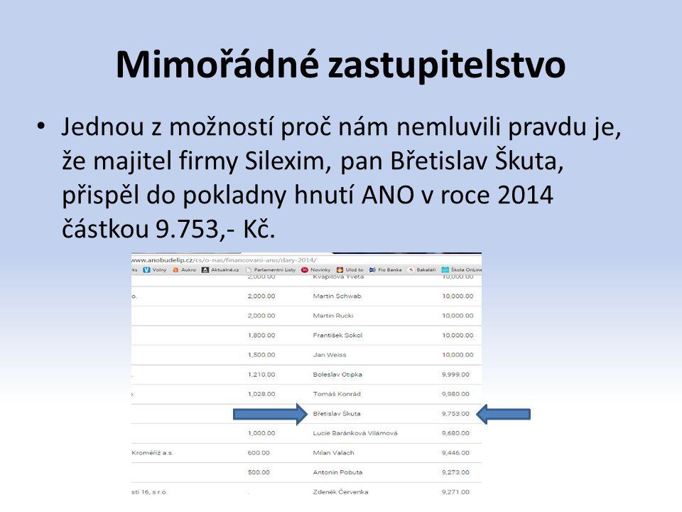 Mimořádné zastupitelstvo Jednou z možností proč nám nemluvili pravdu je, že majitel firmy Silexim, pan Břetislav Škuta, přispěl do pokladny hnutí ANO
