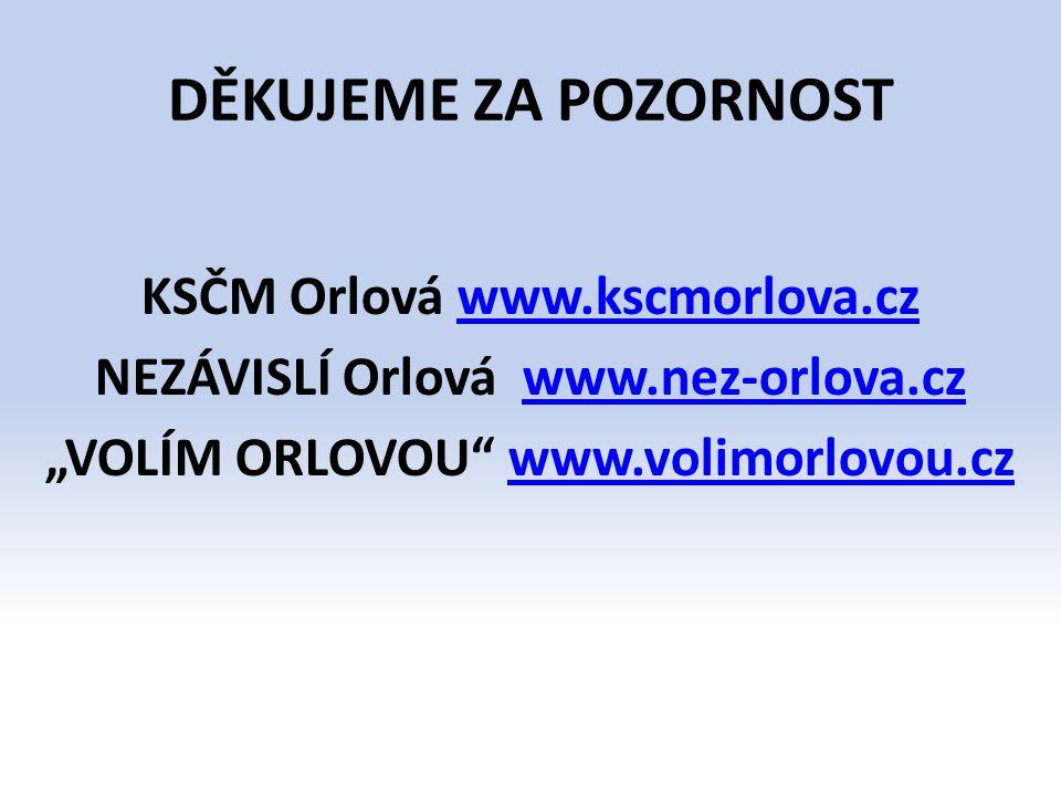 "DĚKUJEME ZA POZORNOST KSČM Orlová www.kscmorlova.czwww.kscmorlova.cz NEZÁVISLÍ Orlová www.nez-orlova.czwww.nez-orlova.cz ""VOLÍM ORLOVOU"" www.volimorlo"
