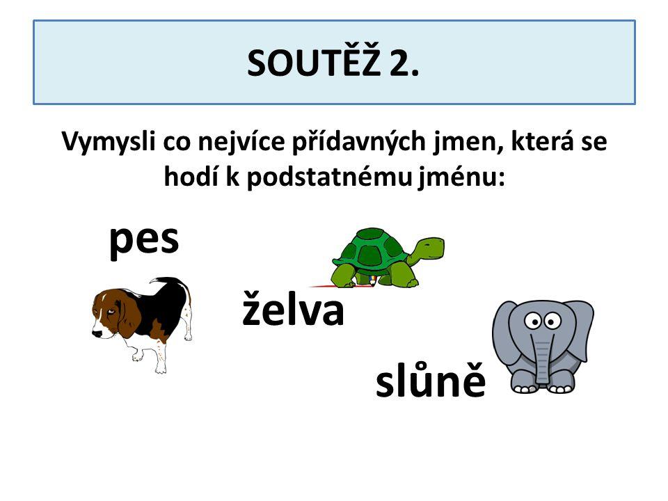 SOUTĚŽ 2. Vymysli co nejvíce přídavných jmen, která se hodí k podstatnému jménu: pes želva slůně