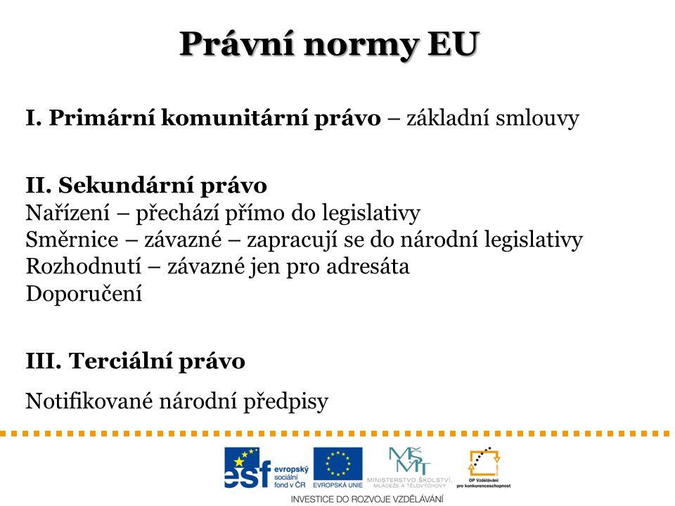 Právní normy EU I. Primární komunitární právo – základní smlouvy II. Sekundární právo Nařízení – přechází přímo do legislativy Směrnice – závazné – za