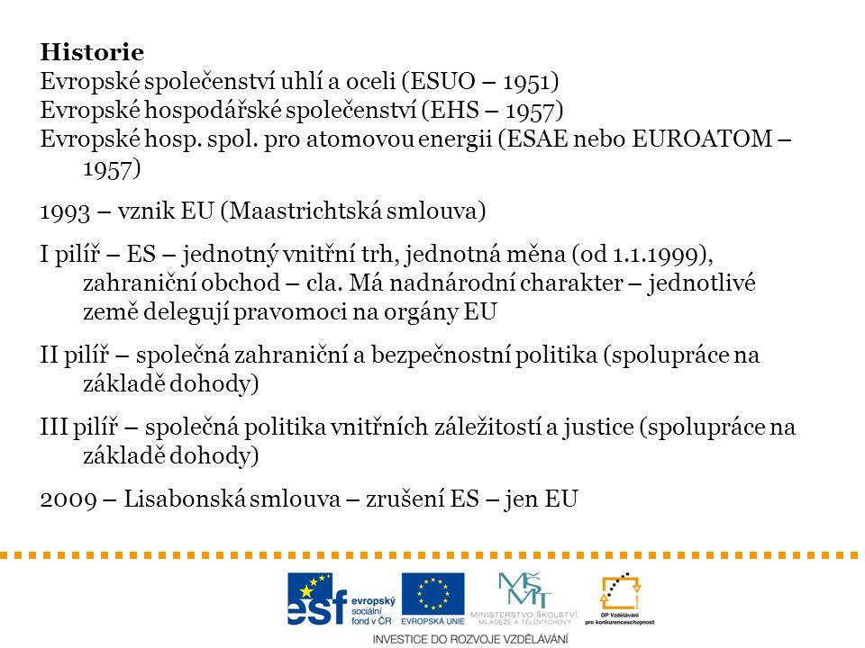 Historie Evropské společenství uhlí a oceli (ESUO – 1951) Evropské hospodářské společenství (EHS – 1957) Evropské hosp. spol. pro atomovou energii (ES