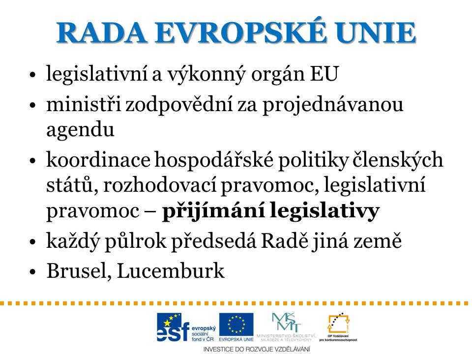 RADA EVROPSKÉ UNIE legislativní a výkonný orgán EU ministři zodpovědní za projednávanou agendu koordinace hospodářské politiky členských států, rozhod