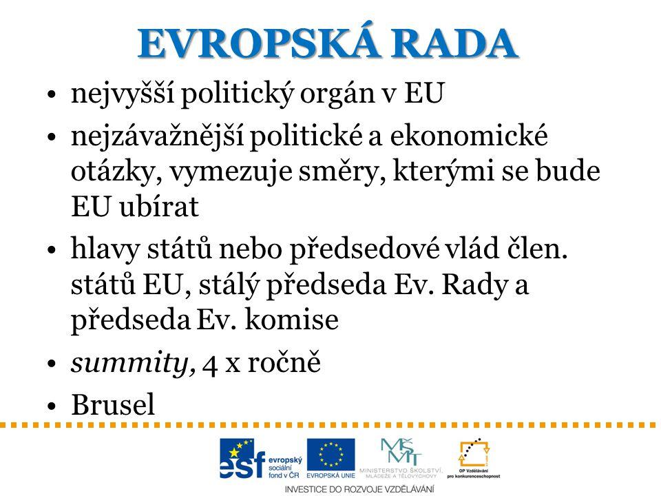 EVROPSKÁ RADA nejvyšší politický orgán v EU nejzávažnější politické a ekonomické otázky, vymezuje směry, kterými se bude EU ubírat hlavy států nebo př
