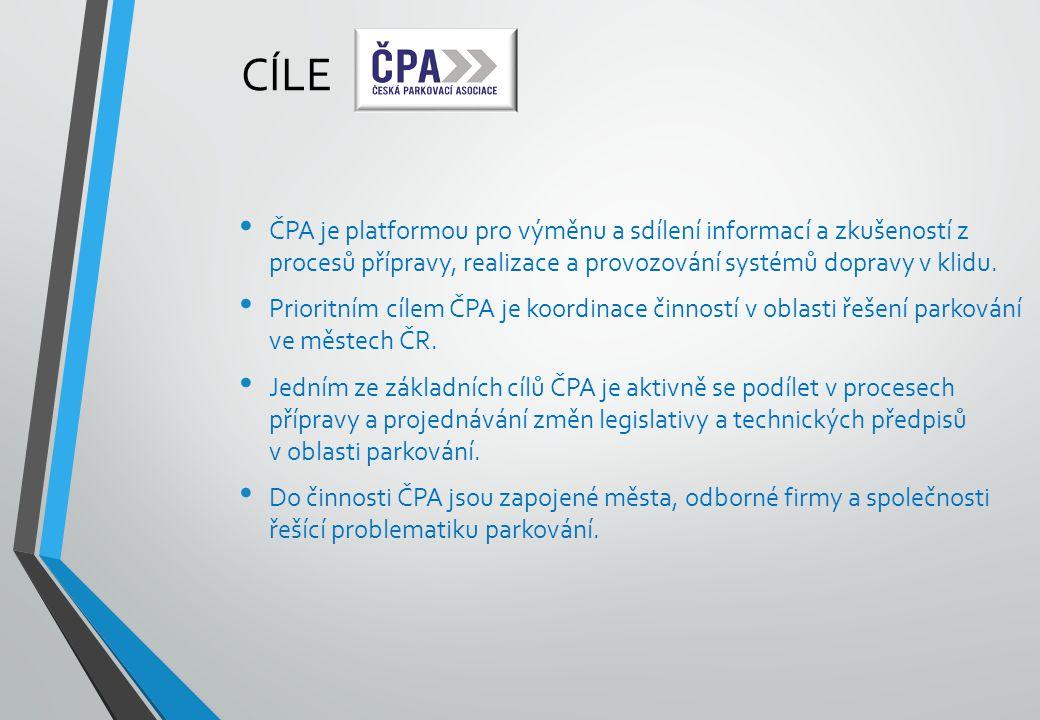 CÍLE ČPA je platformou pro výměnu a sdílení informací a zkušeností z procesů přípravy, realizace a provozování systémů dopravy v klidu. Prioritním cíl