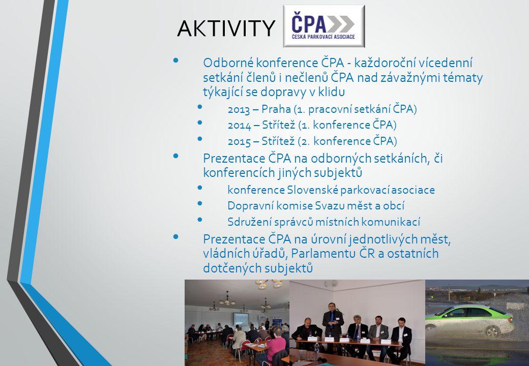 AKTIVITY Odborné konference ČPA - každoroční vícedenní setkání členů i nečlenů ČPA nad závažnými tématy týkající se dopravy v klidu 2013 – Praha (1. p