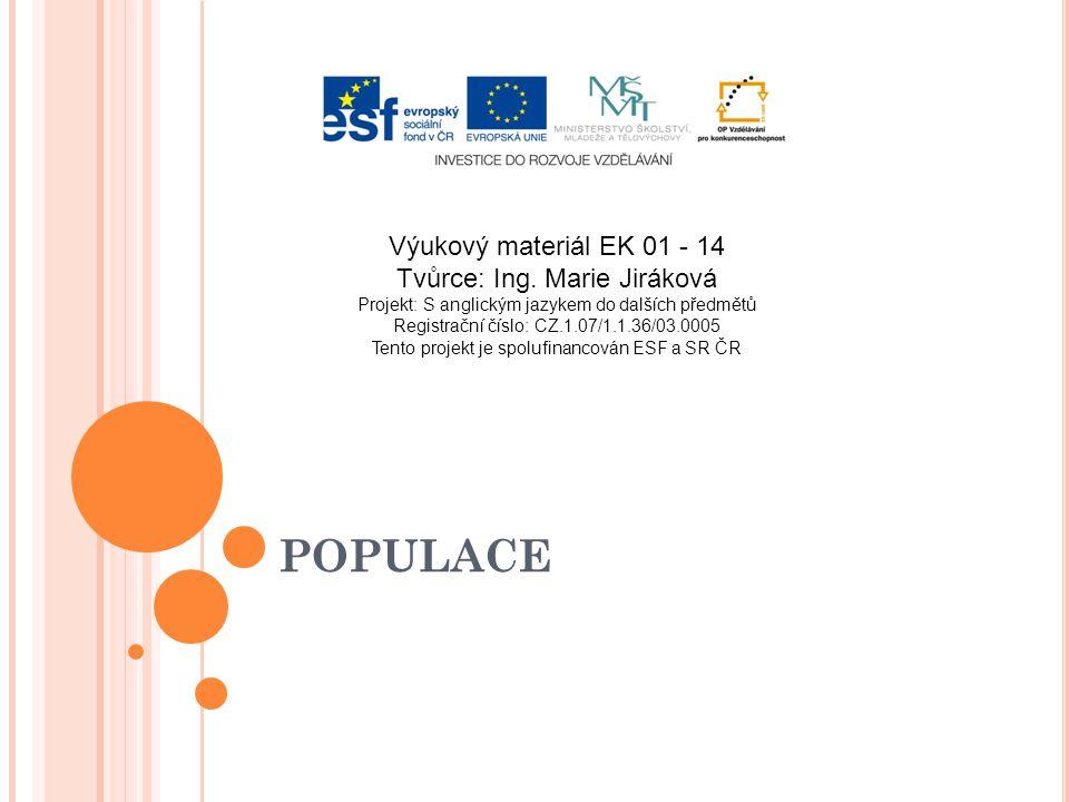 POPULACE Výukový materiál EK 01 - 14 Tvůrce: Ing. Marie Jiráková Projekt: S anglickým jazykem do dalších předmětů Registrační číslo: CZ.1.07/1.1.36/03