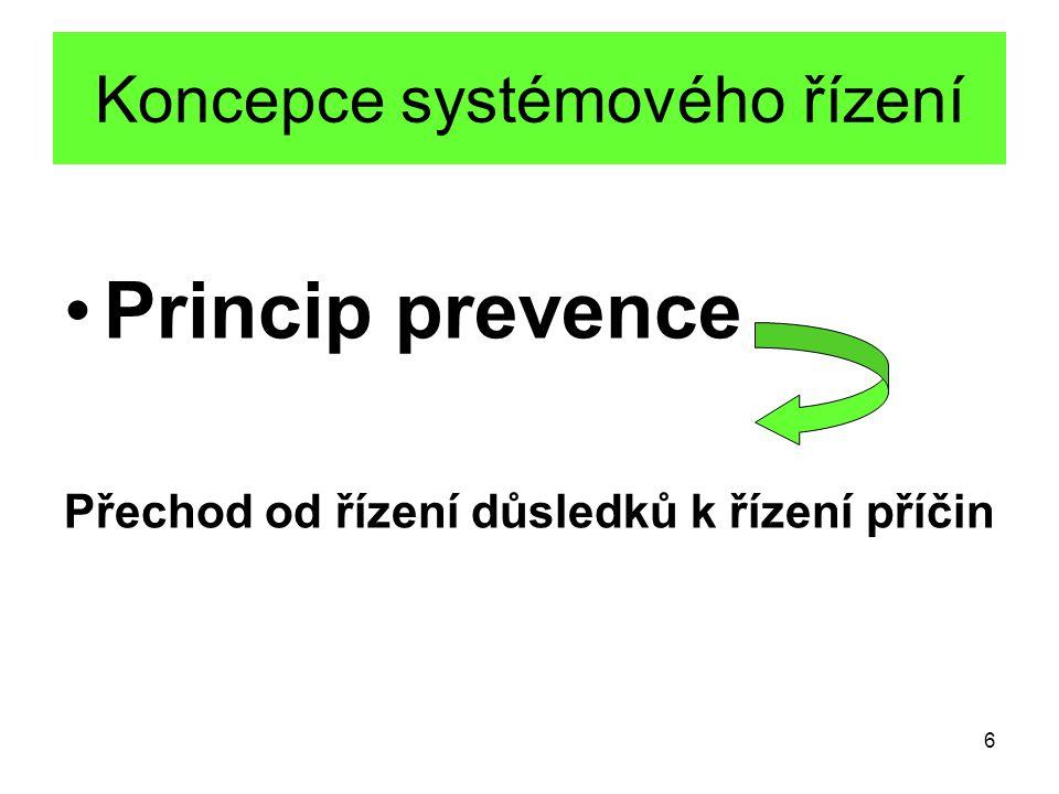 6 Koncepce systémového řízení Princip prevence Přechod od řízení důsledků k řízení příčin