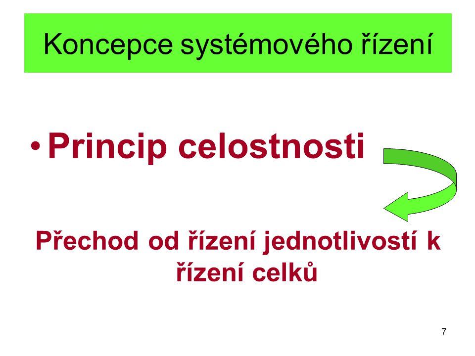 7 Koncepce systémového řízení Princip celostnosti Přechod od řízení jednotlivostí k řízení celků