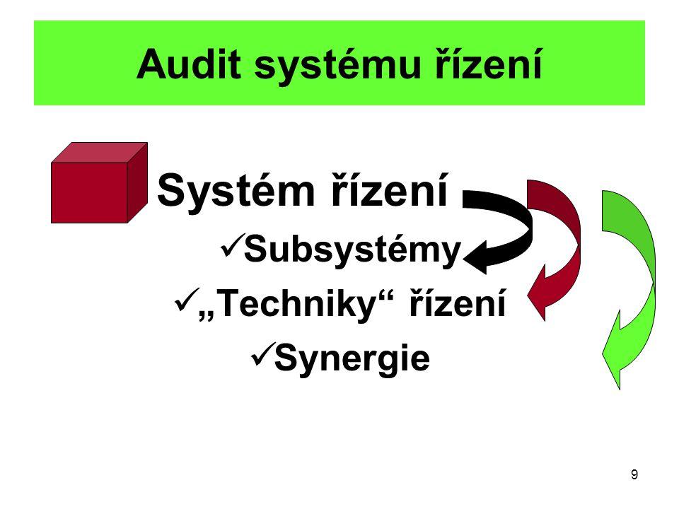"""9 Audit systému řízení Systém řízení Subsystémy """"Techniky řízení Synergie"""