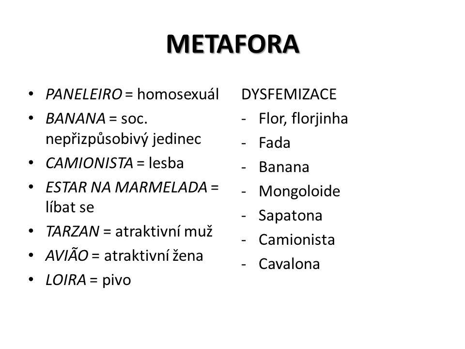 METAFORA PANELEIRO = homosexuál BANANA = soc. nepřizpůsobivý jedinec CAMIONISTA = lesba ESTAR NA MARMELADA = líbat se TARZAN = atraktivní muž AVIÃO =