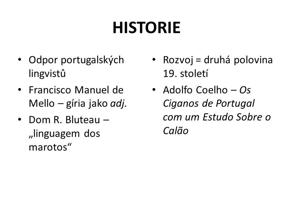 "HISTORIE Odpor portugalských lingvistů Francisco Manuel de Mello – gíria jako adj. Dom R. Bluteau – ""linguagem dos marotos"" Rozvoj = druhá polovina 19"