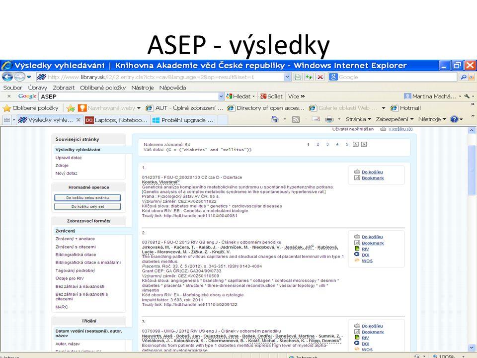 ASEP - výsledky