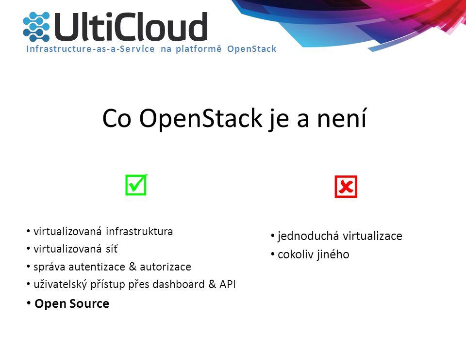 Co OpenStack je a není  virtualizovaná infrastruktura virtualizovaná síť správa autentizace & autorizace uživatelský přístup přes dashboard & API Ope