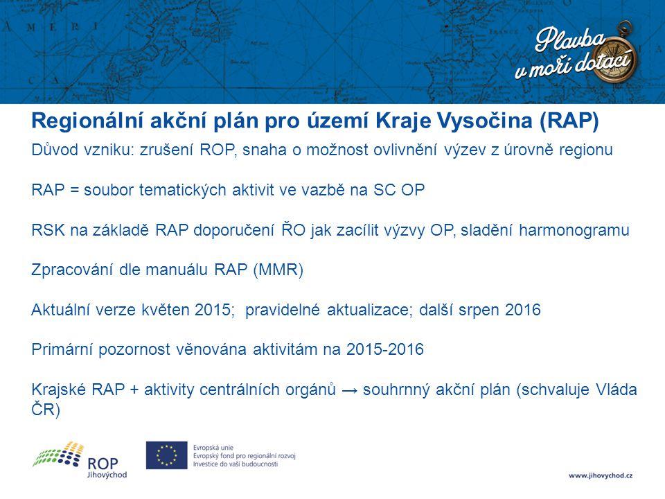 Regionální akční plán pro území Kraje Vysočina (RAP) Důvod vzniku: zrušení ROP, snaha o možnost ovlivnění výzev z úrovně regionu RAP = soubor tematick