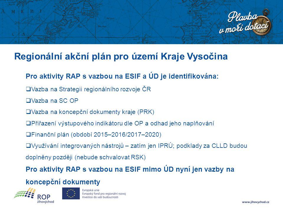Regionální akční plán pro území Kraje Vysočina Pro aktivity RAP s vazbou na ESIF a ÚD je identifikována:  Vazba na Strategii regionálního rozvoje ČR