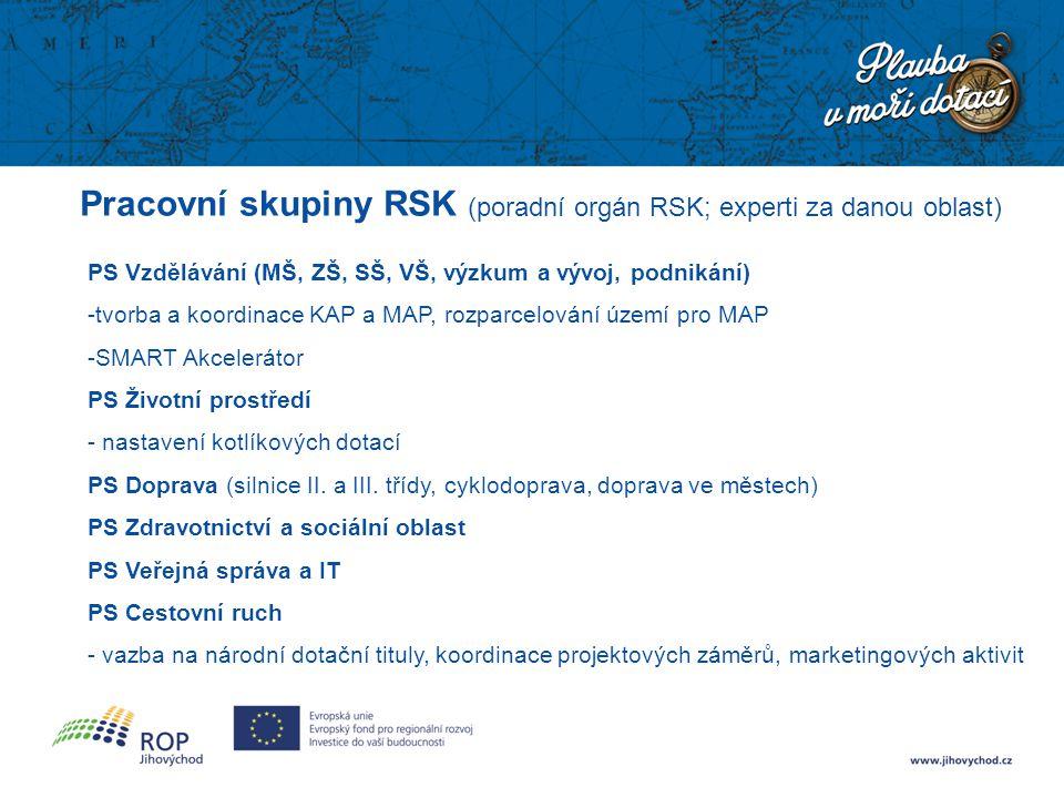 Pracovní skupiny RSK (poradní orgán RSK; experti za danou oblast) PS Vzdělávání (MŠ, ZŠ, SŠ, VŠ, výzkum a vývoj, podnikání) -tvorba a koordinace KAP a