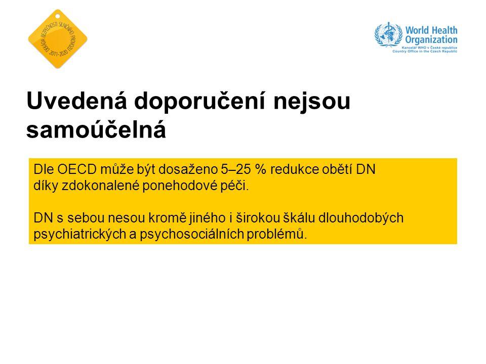 Uvedená doporučení nejsou samoúčelná Dle OECD může být dosaženo 5–25 % redukce obětí DN díky zdokonalené ponehodové péči. DN s sebou nesou kromě jinéh