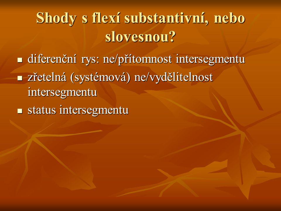 Shody s flexí substantivní, nebo slovesnou? diferenční rys: ne/přítomnost intersegmentu diferenční rys: ne/přítomnost intersegmentu zřetelná (systémov