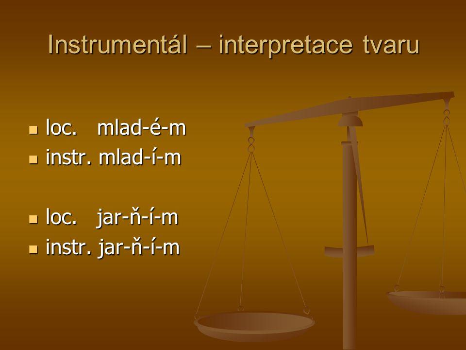 Instrumentál – interpretace tvaru loc. mlad-é-m loc. mlad-é-m instr. mlad-í-m instr. mlad-í-m loc. jar-ň-í-m loc. jar-ň-í-m instr. jar-ň-í-m instr. ja