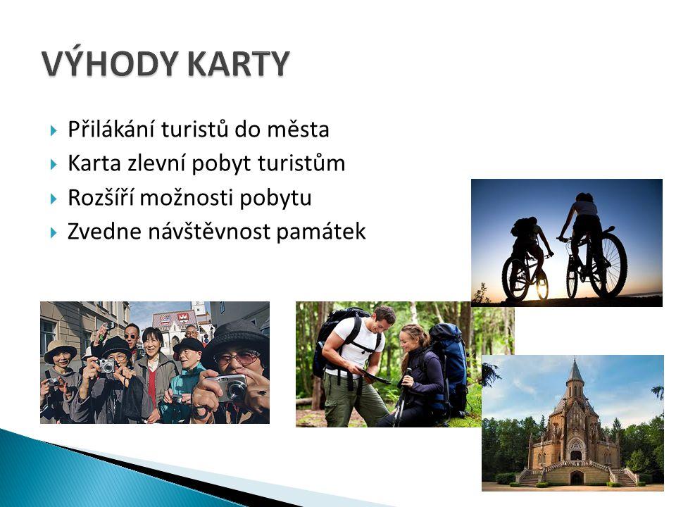  Přilákání turistů do města  Karta zlevní pobyt turistům  Rozšíří možnosti pobytu  Zvedne návštěvnost památek