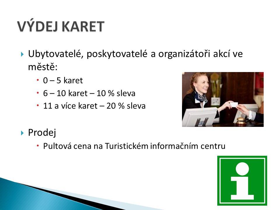  Ubytovatelé, poskytovatelé a organizátoři akcí ve městě:  0 – 5 karet  6 – 10 karet – 10 % sleva  11 a více karet – 20 % sleva  Prodej  Pultová cena na Turistickém informačním centru
