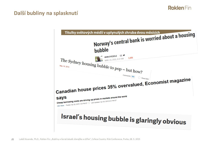 """Lukáš Kovanda, Ph.D., Roklen Fin: """"Bubliny a černé labutě včerejška a zítřka"""", Coface Country Risk Conference, Praha, 28. 5. 2015 21 Další bubliny na"""