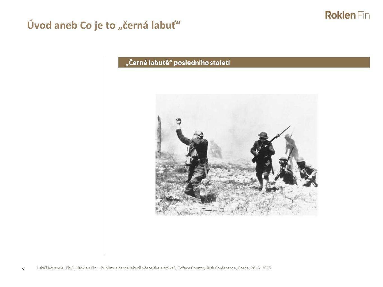 """Lukáš Kovanda, Ph.D., Roklen Fin: """"Bubliny a černé labutě včerejška a zítřka"""", Coface Country Risk Conference, Praha, 28. 5. 2015 6 Úvod aneb Co je to"""