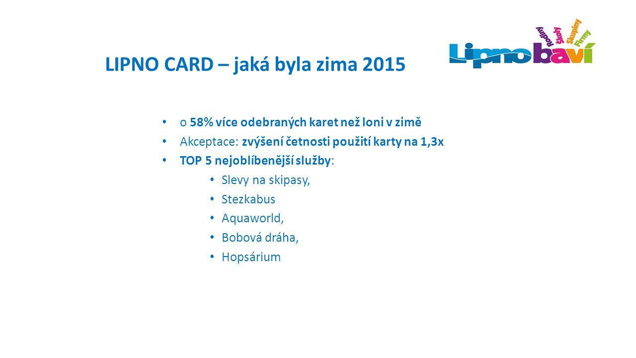Akceptační místa Lipno Card - spolupracující poskytovatelé služeb Smluvní vztah: Poskytnutí výhody: 1+1, -100% sleva, káva k dezertu, dárek k návštěvě, -20% Prezentace v brožuře Lipno Card – 30 tis.ks/sezona/distribuce po všech akceptačních místech, ubytovatelích, IC Prezentace na www.lipnocard.cz: přímý odkaz, foto,...www.lipnocard.cz Prezentace na veletrzích, FB profilech Označení akceptujeme Lipno Card