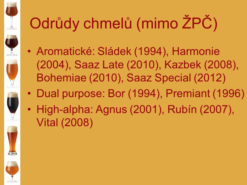 Odrůdy chmelů (mimo ŽPČ) Aromatické: Sládek (1994), Harmonie (2004), Saaz Late (2010), Kazbek (2008), Bohemiae (2010), Saaz Special (2012) Dual purpos
