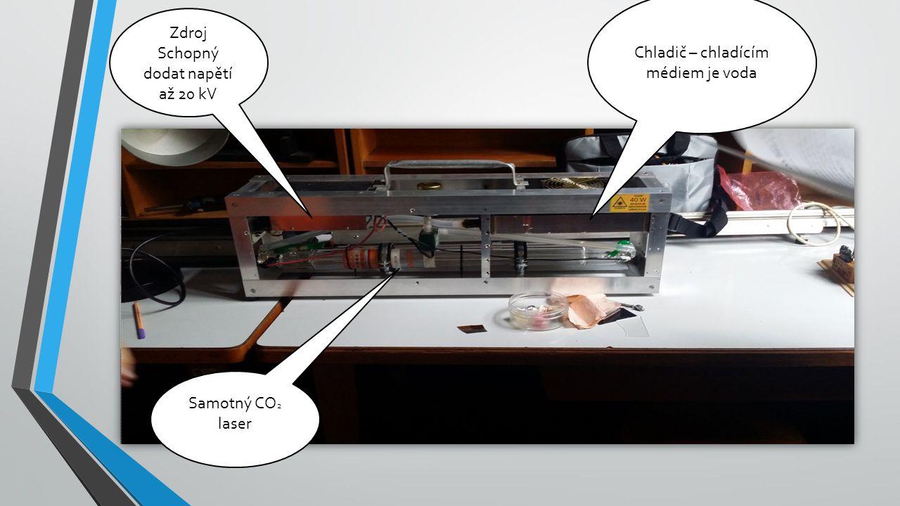 Zdroj Schopný dodat napětí až 20 kV Chladič – chladícím médiem je voda Samotný CO 2 laser