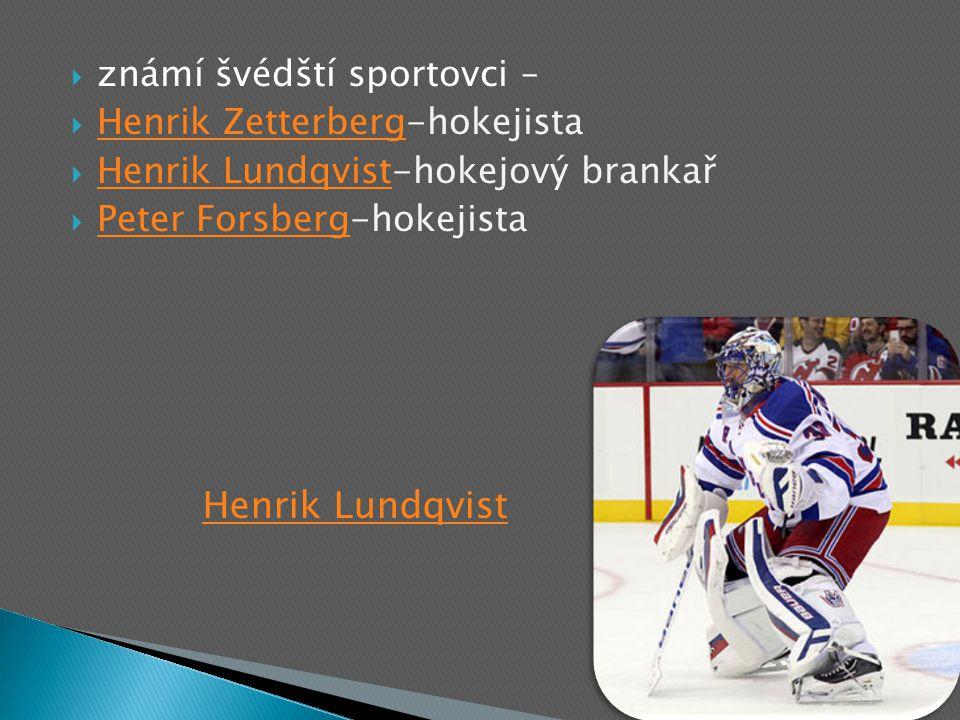  známí švédští sportovci –  Henrik Zetterberg-hokejista Henrik Zetterberg  Henrik Lundqvist-hokejový brankař Henrik Lundqvist  Peter Forsberg-hokejista Peter Forsberg Henrik Lundqvist