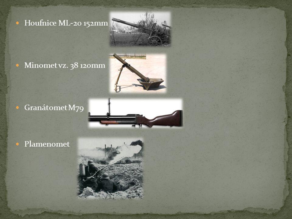 Houfnice ML-20 152mm Minomet vz. 38 120mm Granátomet M79 Plamenomet